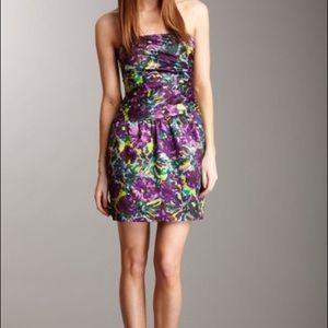BCBG Strapless Cocktail Dress, Violet Floral
